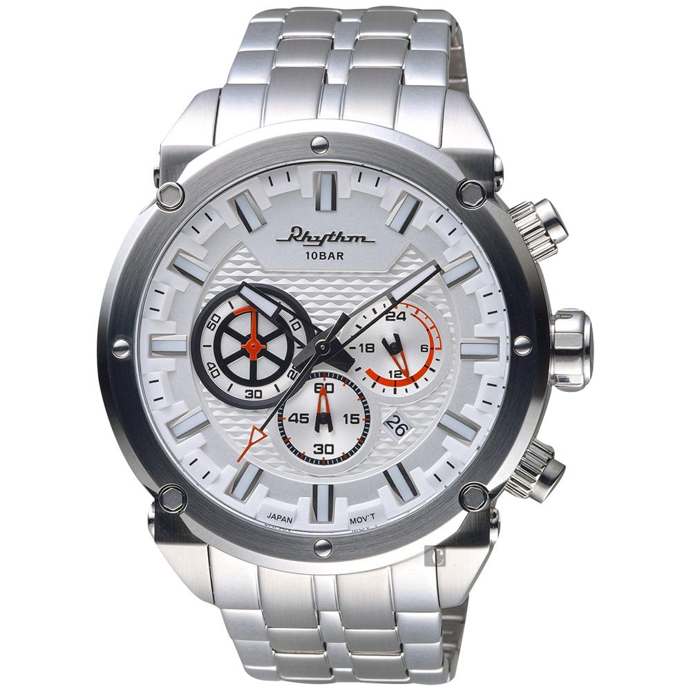 RHYTHM日本麗聲 時尚霸氣計時手錶-銀/48mm