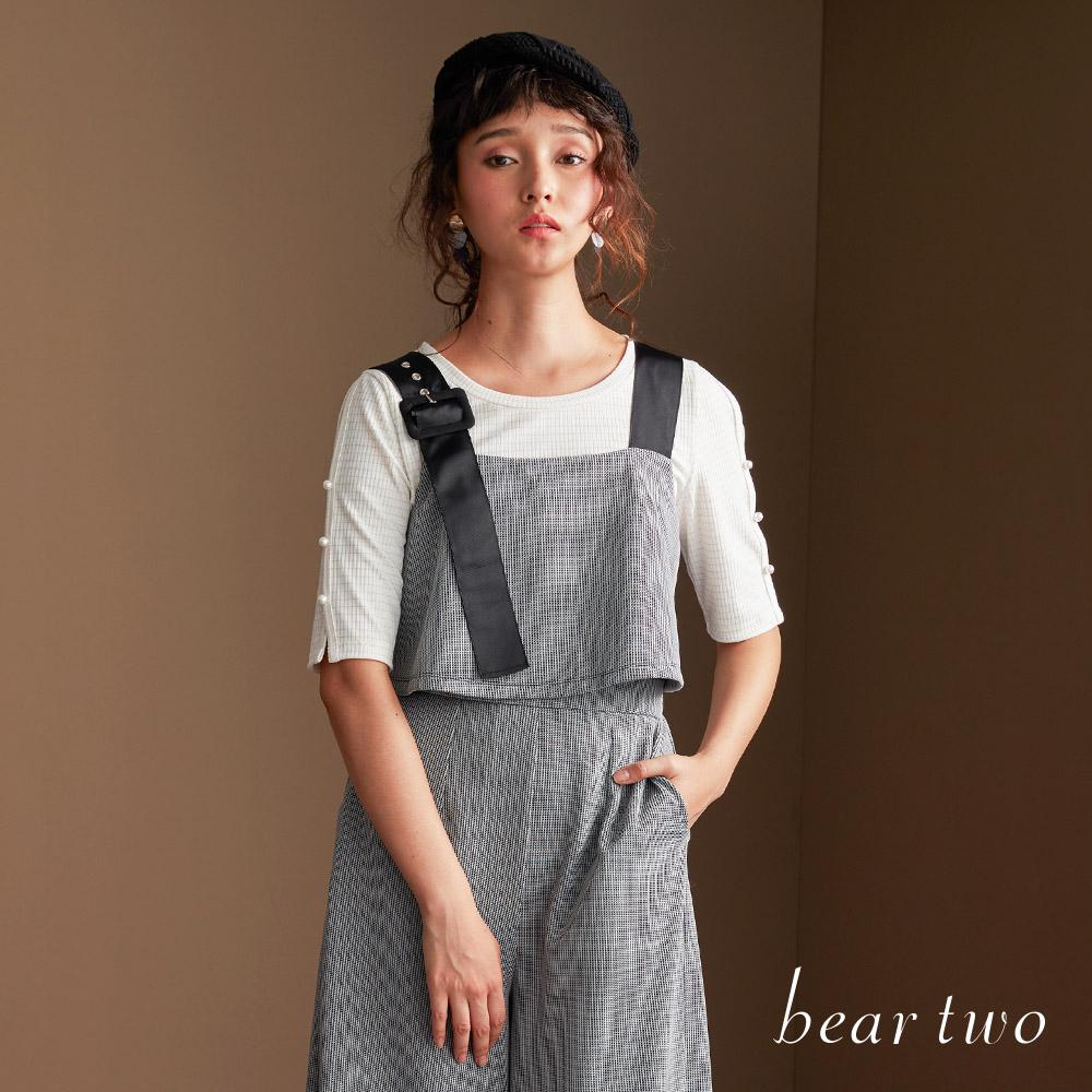 beartwo 珍珠裝飾開衩袖造型針織上衣(二色)