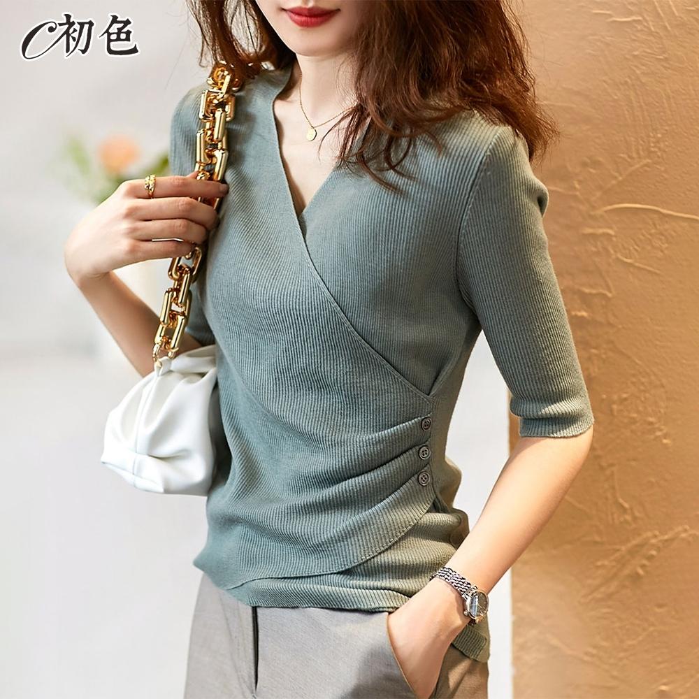 初色  V領五分袖針織衫-共4色-(F可選)