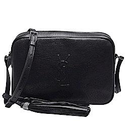 YSL 經典LOU系列品牌LOGO牛皮拉鍊斜背相機包(黑)