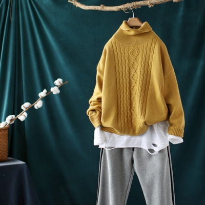 軟糯保暖素色螺紋高領毛衣寬鬆長袖針織衫-設計所在
