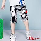 JJLKIDS 經典格紋棉質休閒六分褲(黑白格)