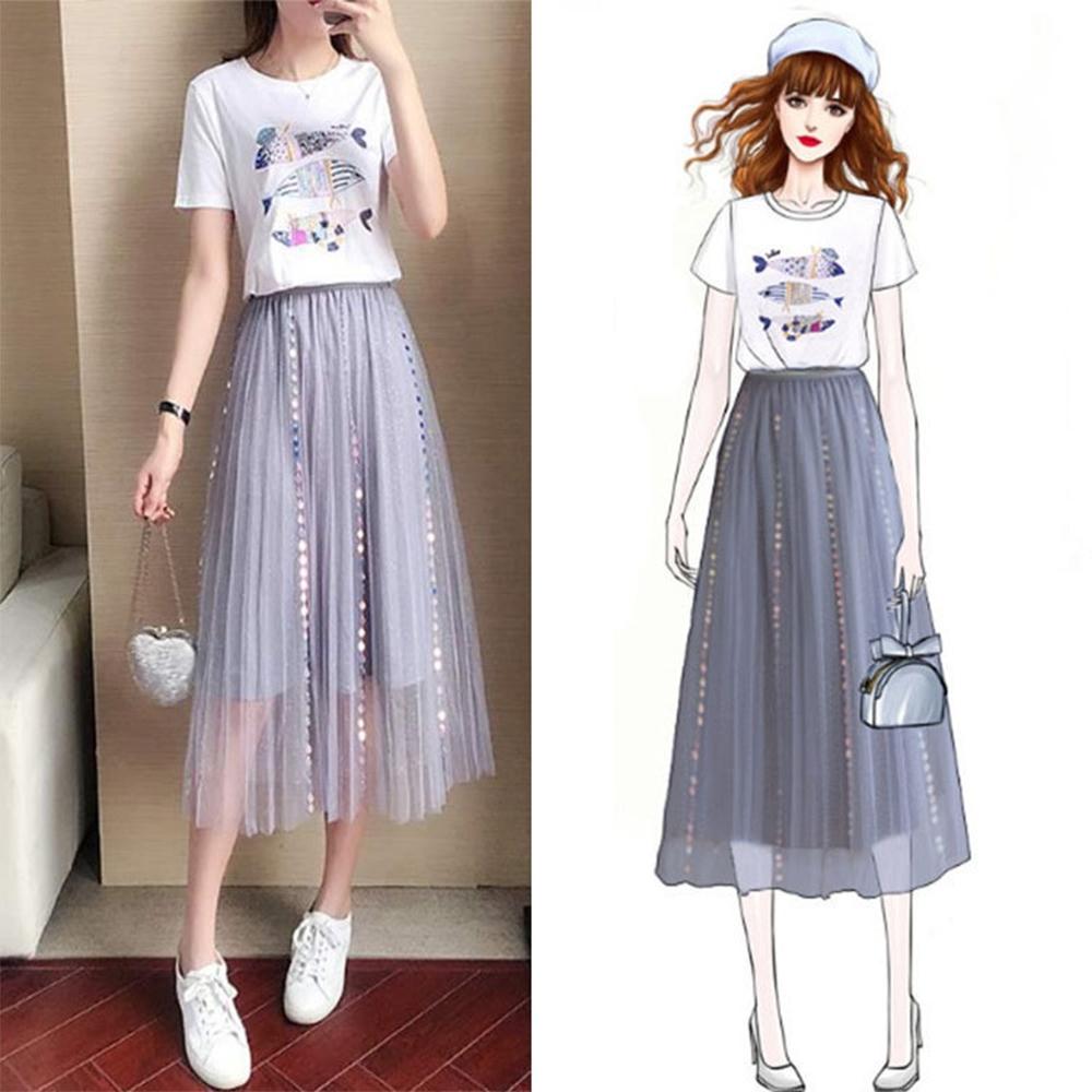 初色  亮片小魚插畫T恤+氣質純色紗裙-灰色-(M-XL可選)
