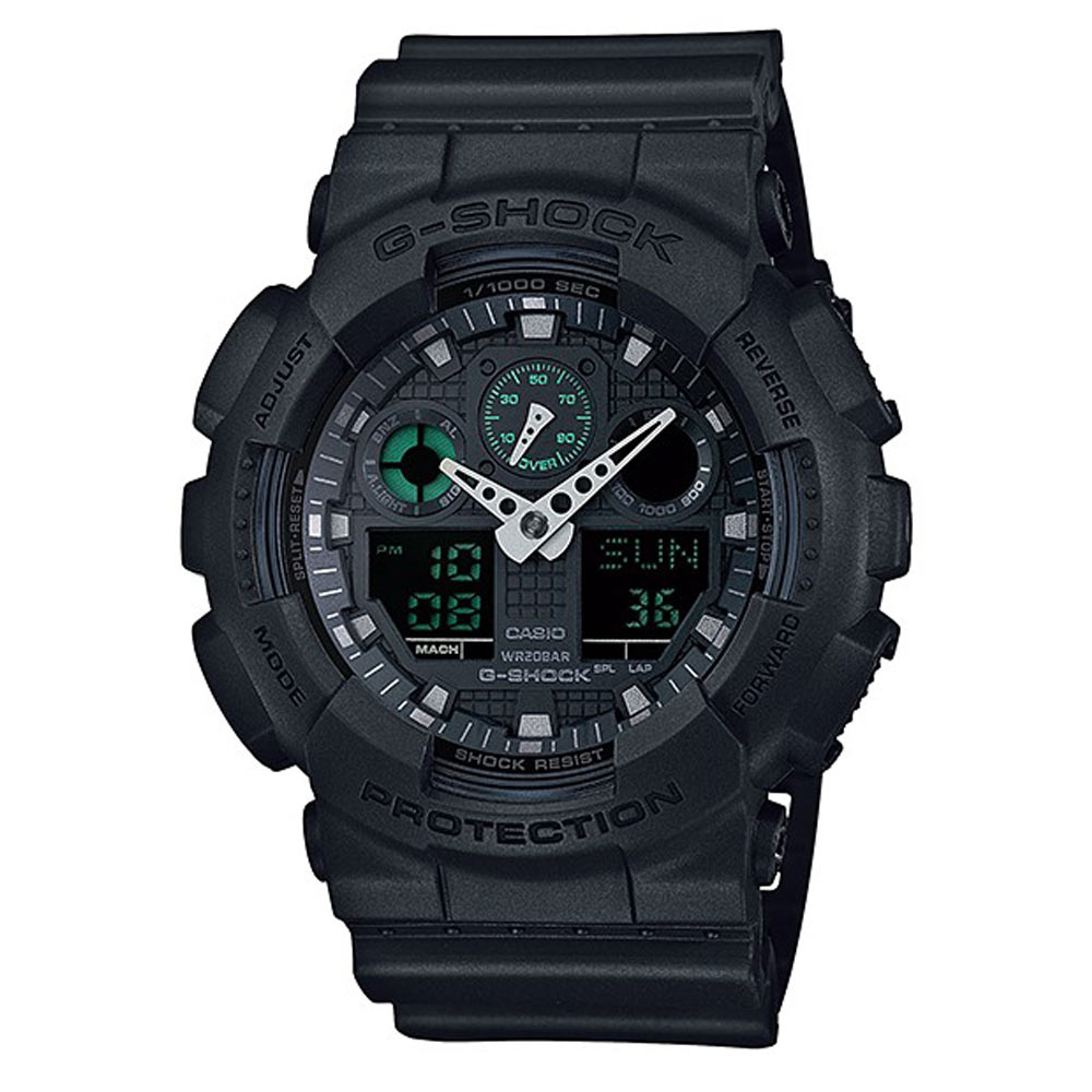 G-SHOCK玩酷潮流風玩家反轉液晶休閒運動錶(GA-100MB-1A)-霧面黑X綠/52mm