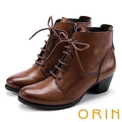 ORIN 英倫時尚 嚴選蠟感牛皮綁帶粗跟短靴-棕色