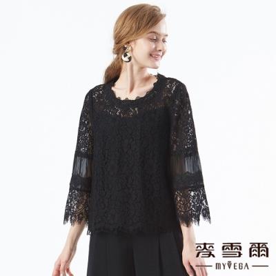 【麥雪爾】法式蕾絲拼接網紗上衣