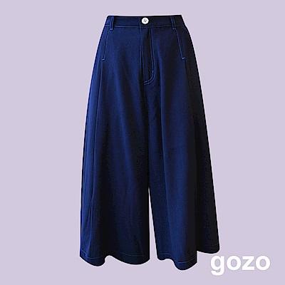 gozo 亮色車線寬版七分褲(深藍)