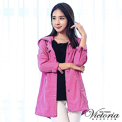 Victoria 抗UV長版防風外套-女-桃紅