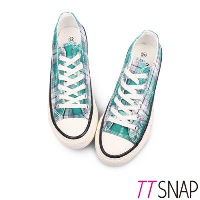 TTSNAP帆布鞋-英倫格紋綁帶厚底增高平底鞋 綠