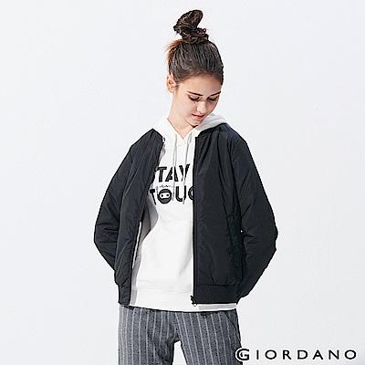 GIORDANO  女裝雙面穿鋪棉飛行外套-09 標誌黑x玫瑰灰