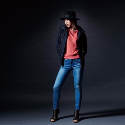 BIG TRAIN 舒棉裡簡約休閒連帽外套-女-深藍
