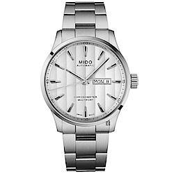 MIDO 美度 Multifort 先鋒系列80小時天文台矽游絲機械錶-銀/42mm