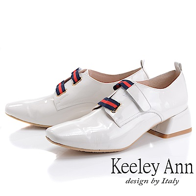 Keeley Ann慵懶盛夏 漆皮質感條紋粗跟包鞋(米白色)