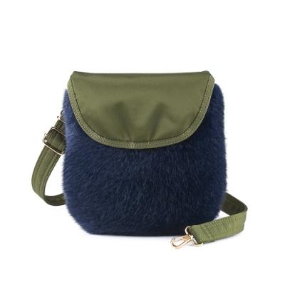 PORTER - 時髦微醺WINE O CLOCK時尚毛絨小包 - 藍