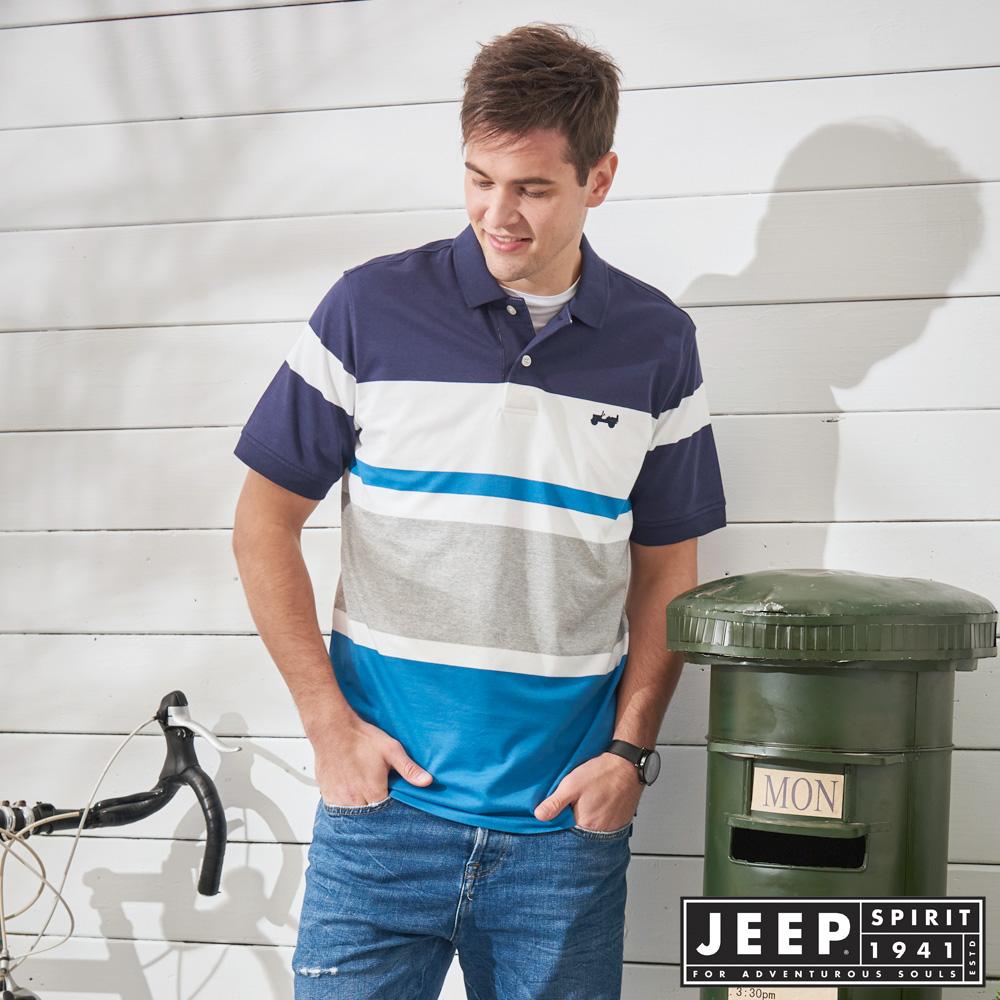 JEEP 時尚潮流拼接短袖POLO衫-藍色