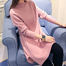 JILLI-KO 半高領針織開衩連身裙- 粉紅色