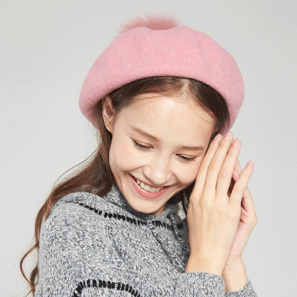 ELLE秋冬加厚時尚八角貂毛球羊毛貝蕾帽_粉/紅 product image 1