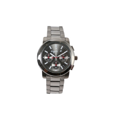 agnes b.三眼計時腕錶-灰x銀/38mm
