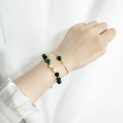梨花HaNA 韓國輕奢綠色祖母綠寶石手鍊二件套