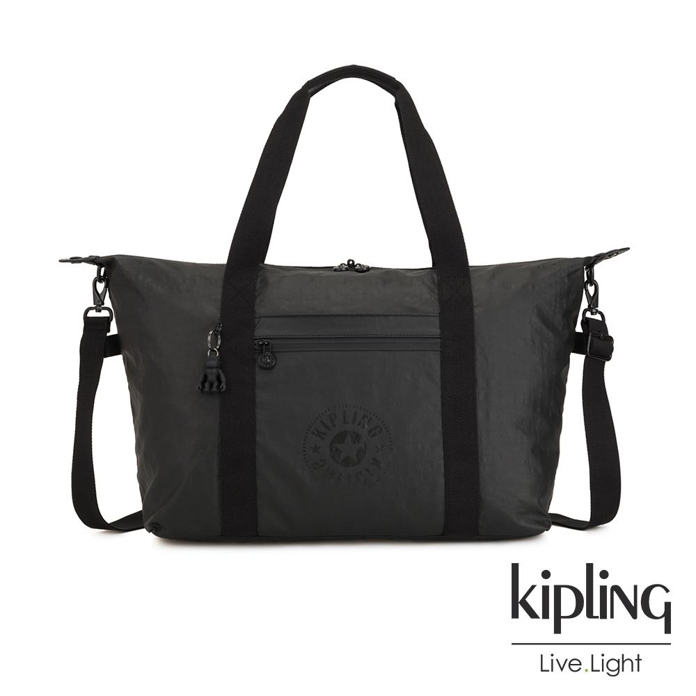 Kipling 低調質感霧黑手提側背包-ART M