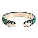 BVLGARI 寶格麗 Serpenti系琺瑯雙蛇頭珍珠魚皮手環(祖母綠/M)