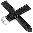 海奕施 HIRSCH Paul L 300米防水 小牛皮橡膠錶帶-黑