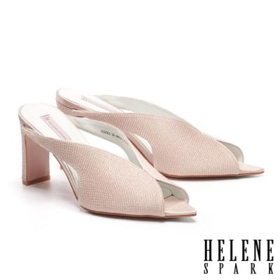 拖鞋 HELENE SPARK 別致優雅晶鑽緞布美型高跟拖鞋-米