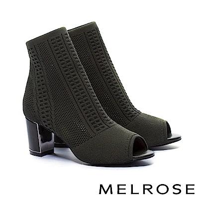 短靴 MELROSE 時尚潮流彈力織布魚口粗高跟襪靴-綠