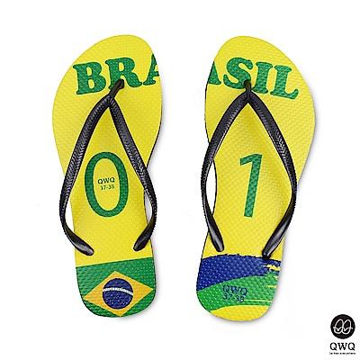 QWQ世界盃足球紀念鞋 巴西  細帶女款款天然橡膠人字拖