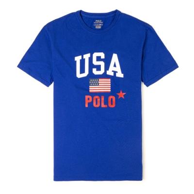Polo Ralph Lauren 經典印刷美國國旗系列短袖T恤-藍色