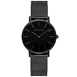 HANNAH MARTIN 經典極簡米蘭帶腕錶黑面-黑x36mm HM-CH36-WYH