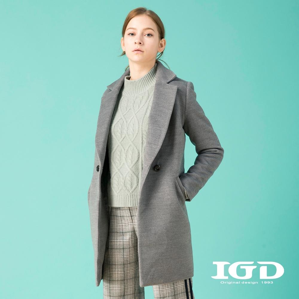 【IGD 英格麗】質感翻領單釦毛呢大衣