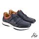 A.S.O 機能休閒 萬步健康鞋 雙帶魔鬼黏休閒鞋-深藍 product thumbnail 2
