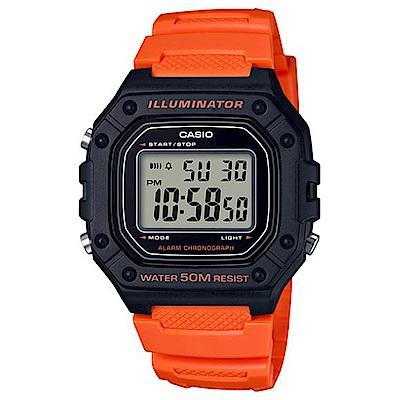 CASIO 多色方款造型實用數位休閒錶-橘 (W-218H-4B2)/43.2mm