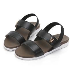 PLAYBOY 簡約素色一字涼拖鞋-黑-Y6298CC