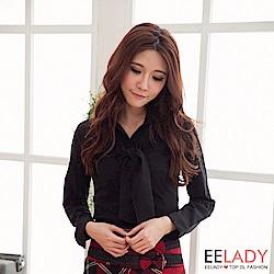 OL不可拆領巾表面黑色長袖襯衫-EELADY