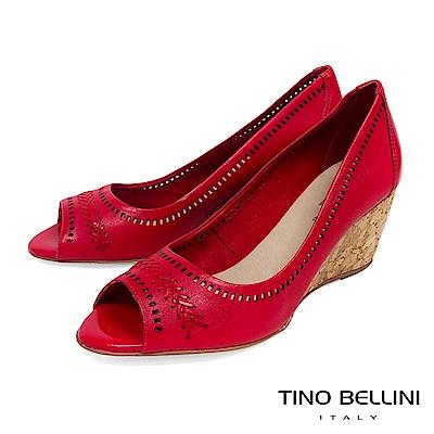 Tino Bellini 巴西進口編織MIX沖孔魚口楔型鞋 _ 紅