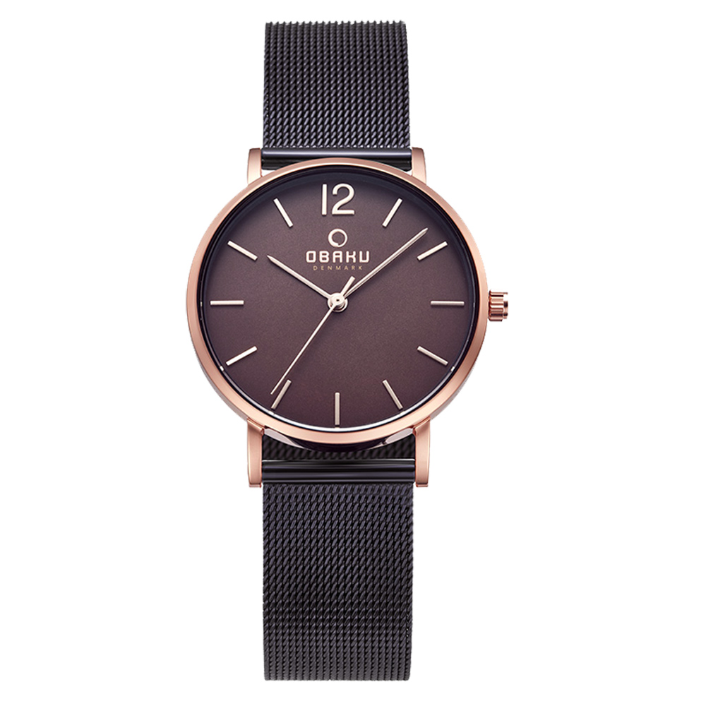OBAKU 摩登驚豔鋼質女錶-玫瑰金色x棕色/32mm