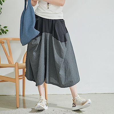 慢 生活 不規則拼接格紋棉麻長裙- 灰