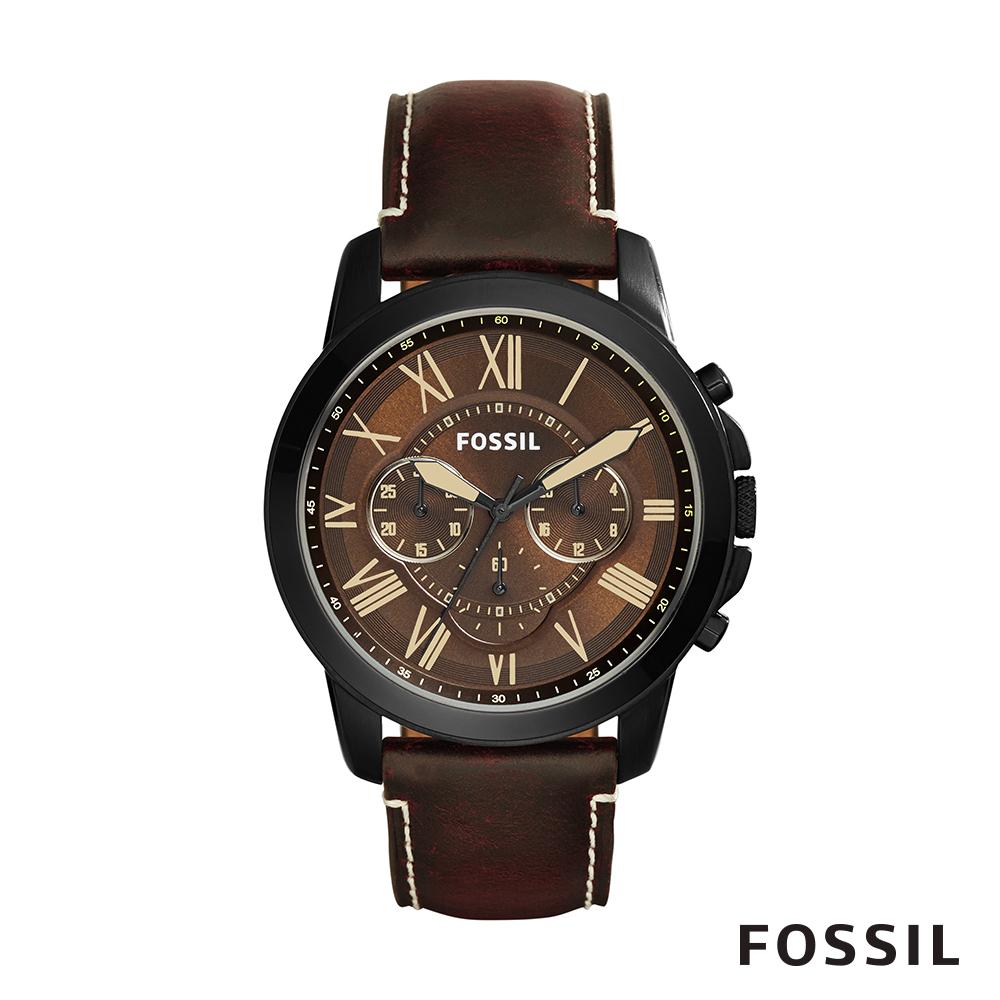 FOSSIL GRANT 冒險家精神三眼計時腕錶-黑棕