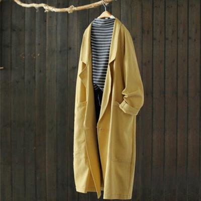 斜紋棉雙排扣西裝領長版外套寬鬆風衣-設計所在