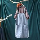 純棉韓版牛仔背帶裙寬鬆中長版裙-設計所在