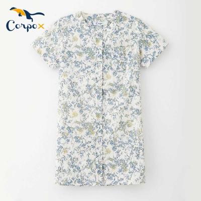 Corpox-女童短袖小洋裝-藍花