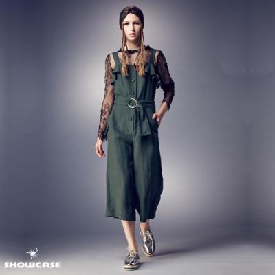 【SHOWCASE】吊帶荷葉翻領高腰顯瘦寬管連身褲-綠