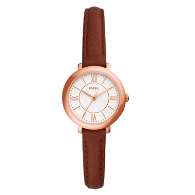 FOSSIL  氣質淑女紅桃皮革腕錶-ES4412-27mm