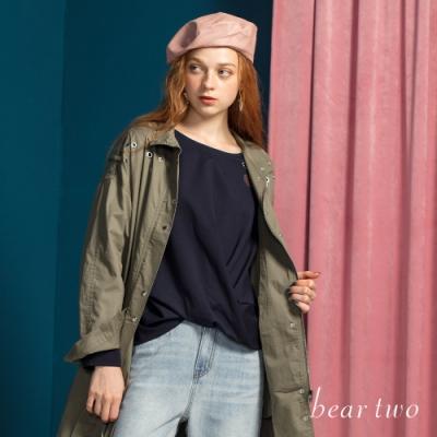 bear two- 俏皮穿心愛心刺繡上衣 - 藍