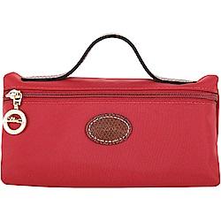 LONGCHAMP Le Pliage 牛皮LOGO帆布手提化妝包(紅色)