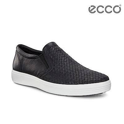 ECCO SOFT 7 M 編織透氣套入式休閒鞋 男-黑