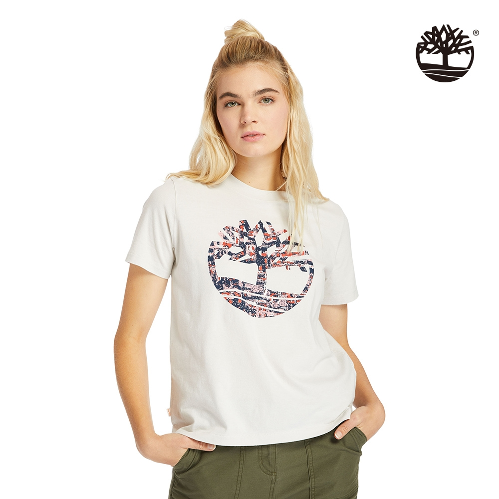 Timberland 女款白沙色點狀樹型LOGOT恤 A2FDQ