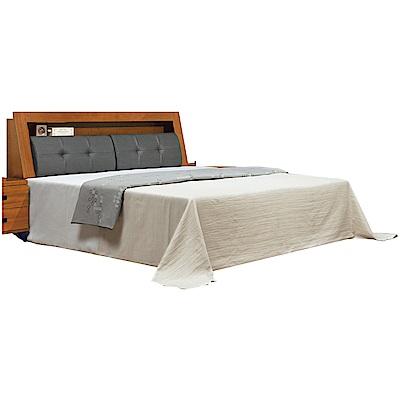 綠活居 克芙利6尺皮革雙人加大床組(床頭箱+底+不含床墊)-188x217x101cm免組